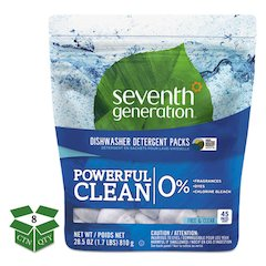 Natural Dishwasher Detergent Concentrated Packs, Free & Clear, 45/PK, 8 PK/CT