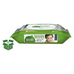 Free & Clear Baby Wipes, Unscented, White, 64/PK, 12 PK/CT