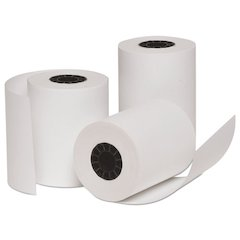 "Deluxe Direct Thermal Printing Paper Rolls, 3"" x 128 ft, White, 10/Pack"