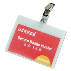 Deluxe Clear Badge Holders w/Garment-Safe Clips, 2.25 x 3.5, White Insert, 50/BX