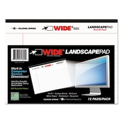 WIDE Landscape Format Writing Pad, College Ruled, 8 x 6, White, 40 Sheets