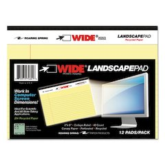 WIDE Landscape Format Writing Pad, College Ruled, 8 x 6, Canary, 40 Sheets
