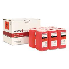 Sharps Retrieval Program Containers, 1.5 qt, Plastic, Red, 6/Box