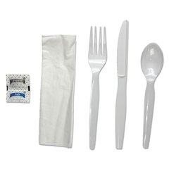 6-Pc. Cutlery Kit, Condiment/Fork/Knife/Napkin/Spoon, Heavyweight, White, 250/CT