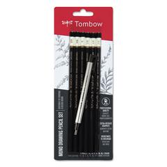 Drawing Pencil Set with Eraser, 2B/2H/4B/6B/B/HB, 2 mm, Black Lead, 6/Set