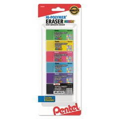 Hi-Polymer Block Eraser, Assorted, 6/Pack