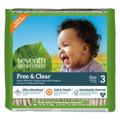 Free and Clear Baby Diapers, Size 3, 16 lbs to 24 lbs, 124/Carton