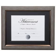 2-Tone 11 x 14 Document Frame, 8 1/2 x 11 Insert, Gray/Gold Frame, Black Mat
