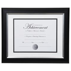 2-Tone 11 x 14 Document Frame, 8 1/2 x 11 Insert, Black/Silver Frame, White Mat