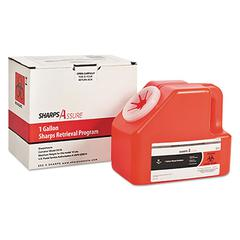 Sharps Retrieval Program Containers, 1 gal, Cardboard/Plastic, Red