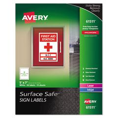 Surface Safe Sign Labels, 5 x 7, White, 30/Pk