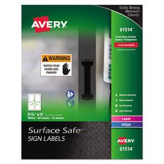 Surface Safe Sign Labels, 3 1/2 x 5, White, 60/Pk