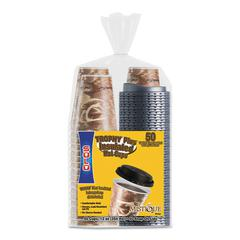 Bistro Hot/Cold Foam Cups With Lids, 12 oz, Brown, 50/PK