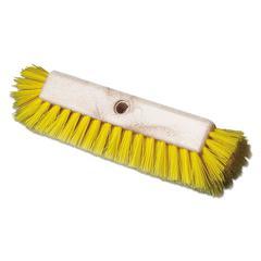 "Dual-Surface Scrub Brush, Plastic Fill, 10"" Long, Yellow"
