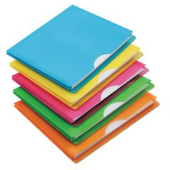 Glow Poly File Jacket, Straight Tab, Letter Size, Assorted Colors, 5/Pack