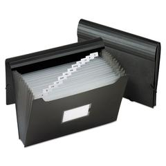 """Jumbo 13-Pocket File, 12"""" Expansion, 13 Sections, 1/13-Cut Tab, Letter Size, Black"""