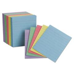 Ruled Mini Index Cards, 3 x 2 1/2, Assorted, 200/Pack