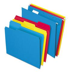 Combo Kit Hanging File Folders, 1/3 Tab, Letter, Assorted, 12 Sets/Box