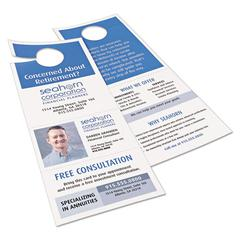 Door Hanger with Tear-Away Cards, 97 Bright, 65lb, 4 1/4 x 11, White, 2 Hangers/Sheet, 40 Sheets/Pack