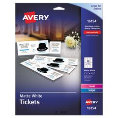 Printable Tickets w/Tear-Away Stubs, 97 Bright, 65lb, 8 1/2 x 11, White, 10 Tickets/Sheet, 20 Sheets/Pack