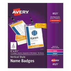 """Lanyard-Style Name Badge Holders w/Inserts, Top Load, 4 1/4"""" x 6"""", White, 75/PK"""