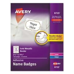 "Flexible Adhesive Name Badge Labels, 3 3/8"" x 2 1/3"", White/Gold, 120/PK"