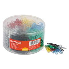 Plastic-Coated Wire Paper Clips, No. 1, Assorted Colors, 1000/Pack