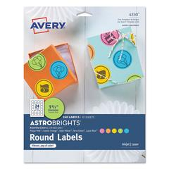 "Color Easy Peel Labels, 1 2/3"" dia., Assorted, 24/Sheet, 10 Sheets/PK"