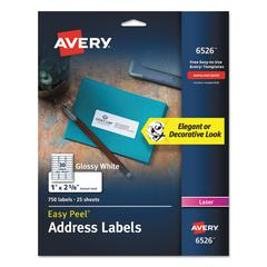 Glossy White Easy Peel Mailing Labels, Laser, 1 x 2 5/8, 30/Sheet, 25 Sheets/PK
