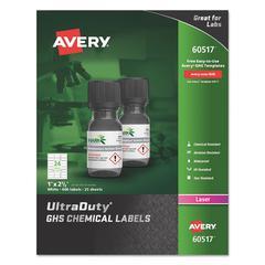 UltraDuty GHS Chemical Labels, Laser, 1 x 2 1/2, White, 24/Sheet, 25 Sheets/PK