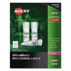 UltraDuty GHS Chemical Labels, Laser, 1/2 x 1 3/4, White, 60/Sheet, 25 Sheets/PK