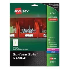 Surface Safe ID Labels, Inkjet/Laser, 7/8 x 2 5/8, White, 33/Sheet, 25 Sheets/PK