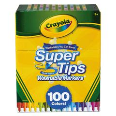 Super Tips Washable Markers, Broad/Fine Bullet Tip, Assorted Colors, 100/Set