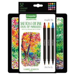 Sketch & Detail Dual Ended Markers, X-Fine/Fine Bullet Tip, Assorted Colors, 16/Set
