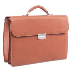 "Milestone Briefcase, Holds Laptops 15.6"", 5"" x 5"" x 12"", Cognac"