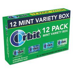 Sugar-Free Chewing Gum, Peppermint; Spearmint; Sweet Mint; Wintermint, 12/PK