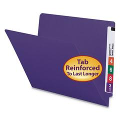 Reinforced End Tab Folders, Straight Tab, Letter, Purple, 100/BX