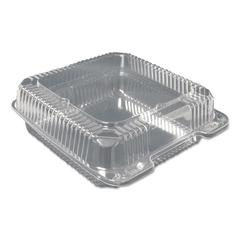 Plastic Clear Hinged Containers, 8 5/8w x 3d, Clear, 200/Carton