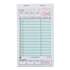 """Guest Check Book, Two-Part Carbonless, 4 1/5"""" x 7 3/4"""", 1/Pages, 2000 Forms"""