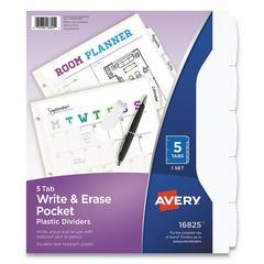 """Write & Erase Plastic Dividers w/Pocket, 5-Tab, 9 1/4"""" x 11 1/8"""", White"""