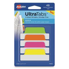 Ultra Tabs Repositionable Tabs, 2.5 x 1, Assorted Neon, 48/PK