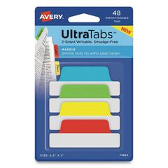 Ultra Tabs Repositionable Tabs, 2.5 x 1, Assorted Primary, 48/PK