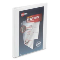 """Heavy-Duty View Binder w/ DuraHinge and Locking One Touch Slant Rings,1/2"""",White"""