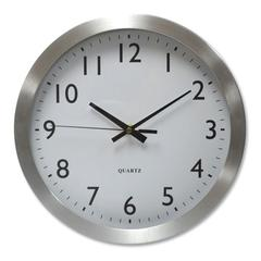 "Brushed Steel Finish Wall Clock, 12"", Silver, 1 AA Battery"