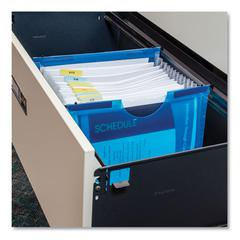 """Expanding File w/ Hanging Tabs, 1"""" Expansion, 13 Sections, Letter Size, Blue"""