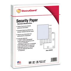 Medical Security Papers, 24lb, 8 1/2 x 11, Blue, 500/Ream