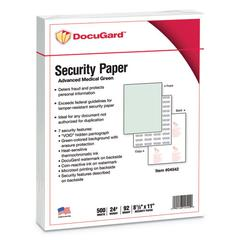Medical Security Papers, 24lb, 8 1/2 x 11, Green, 500/Ream