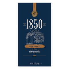 1850 Coffee, Black Gold Dark Roast Ground, 12 oz Bag, 6/Carton