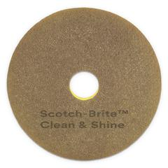 "Clean and Shine Pad, 20"" Diameter, Yellow/Gold, 4/Carton"