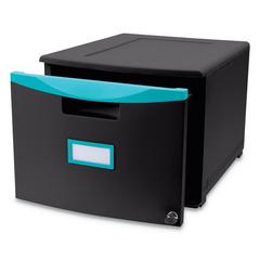 Single-Drawer Mobile Filing Cabinet, 14 3/4w x 18 1/4d x 12 3/4h, Black/Teal